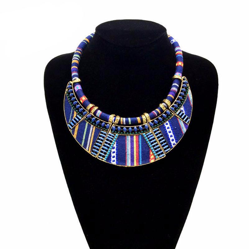 Rope Chain Bohemia Collar Ethnic Vintage Navy Blue Necklace