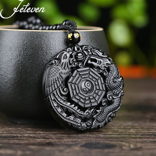 Black Obsidian Hand Carved Pendant Necklace