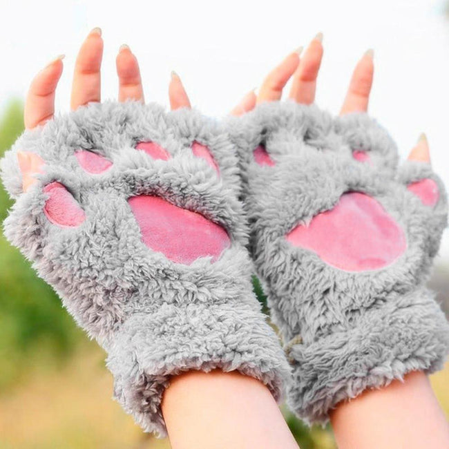 Plush Cat Paw Gloves - Fingerless Winter Claw