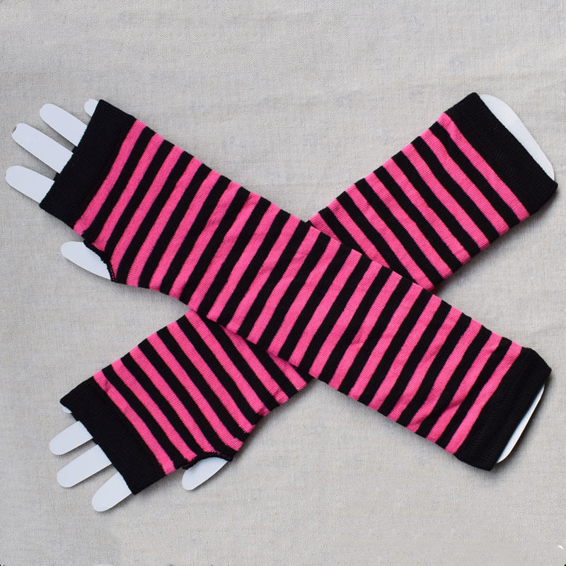 Stripy Fingerless Gloves/Arm Warmers