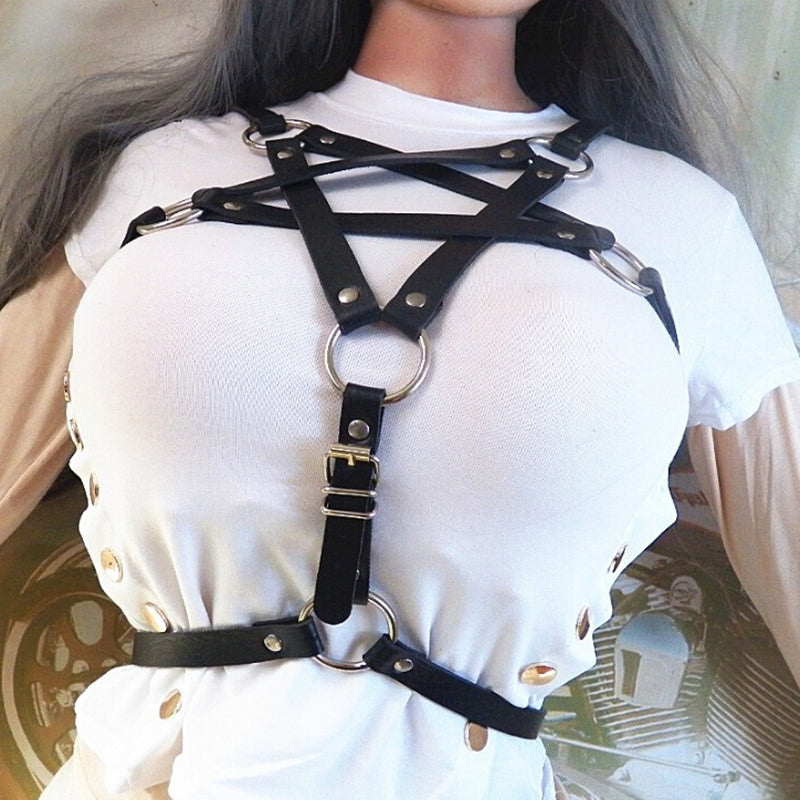 Vegan Leather Pentagram Harness