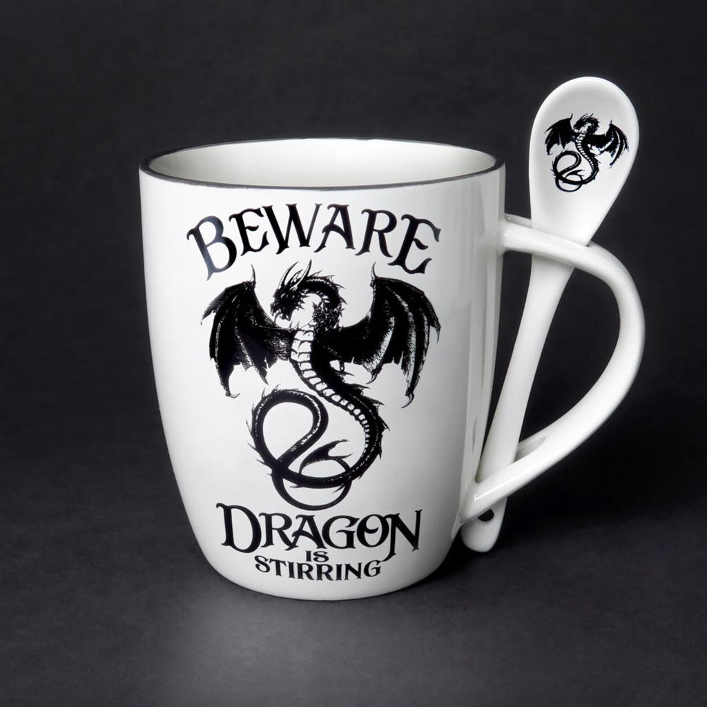 The Dragon Is Stirring Trouble Mug & Spoon Set - Goth Mall