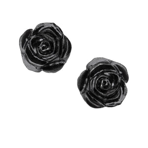 Black Rose Stud Earrings - Goth Mall