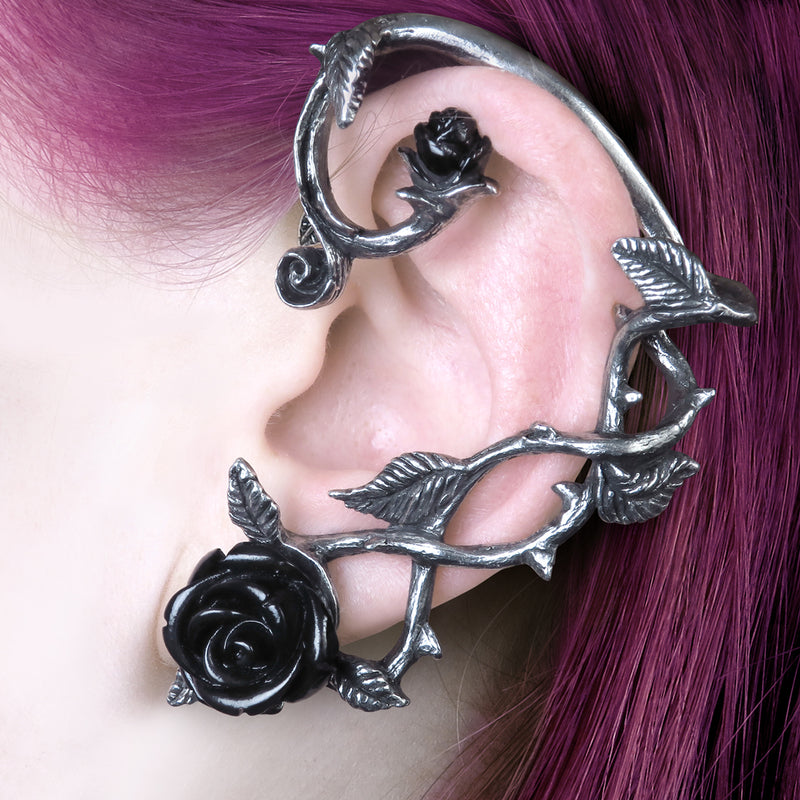 Black Rose Ear Wrap - Goth Mall