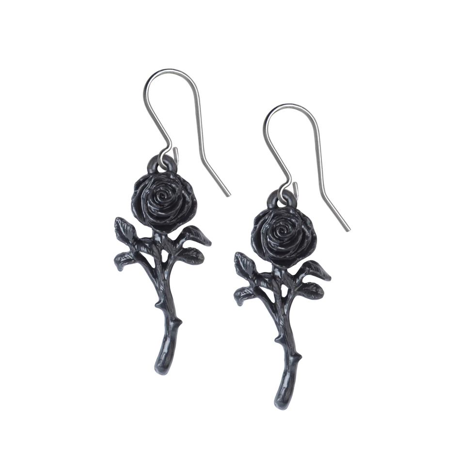 Romance of the Black Rose Earrings - Goth Mall