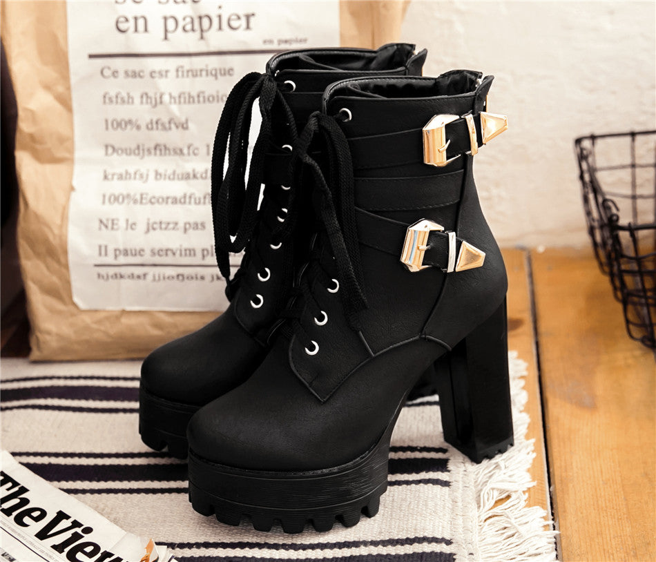 Double Buckle Ankle Boots - Goth Mall
