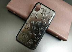Vegan Leather Skulls iPhone Case - Goth Mall