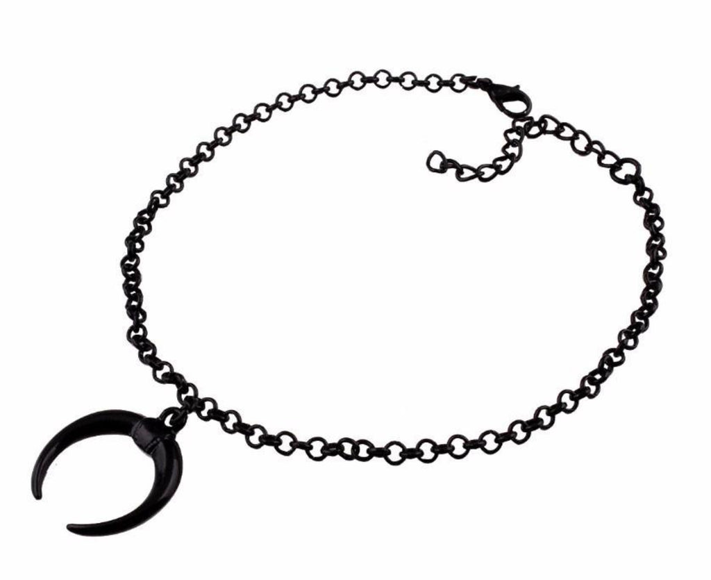 Black Crescent Moon Necklace - Goth Mall