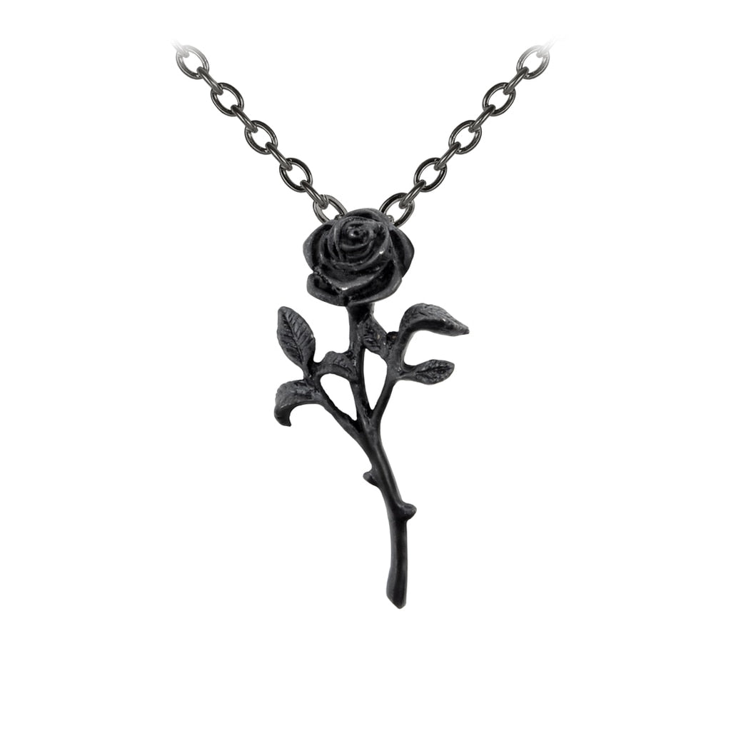 Romance of the Black Rose Pendant Necklace - Goth Mall