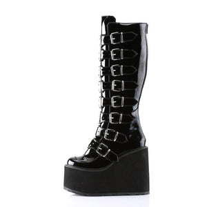 Demonia Swing 815 Goth Boots - Black Patent Leather