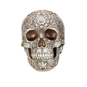 Carved Floral Skull Ornament - Goth Mall
