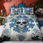 Day of The Dead Blue Skull Bedding - Goth Mall