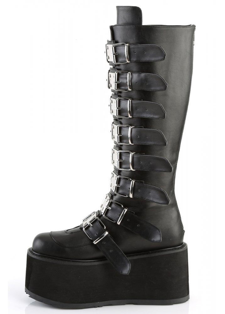 Demonia Damned 318 Boots - Black Vegan Leather