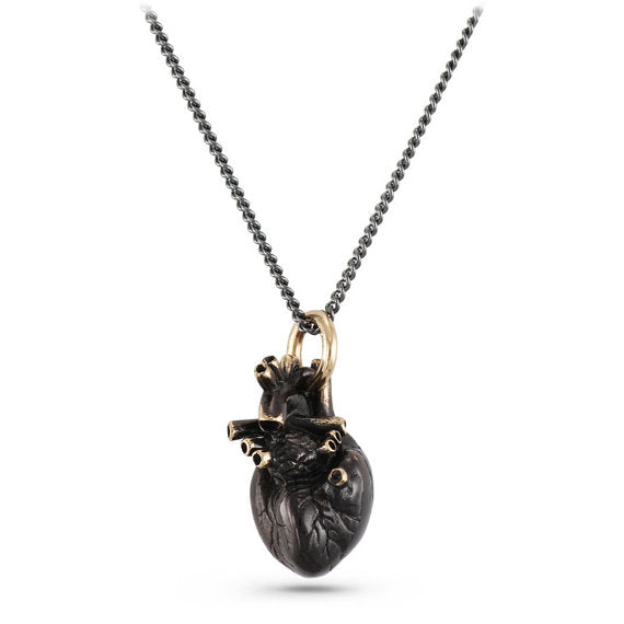 Black Anatomical Heart Necklace - Goth Mall