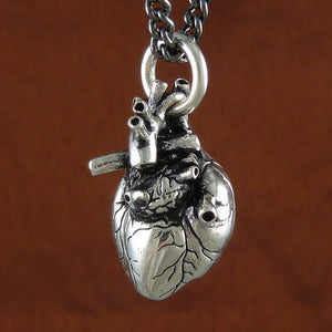 Silver Anatomical Heart Necklace - Goth Mall