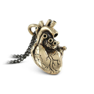 Bronze Anatomical Heart Necklace - Goth Mall