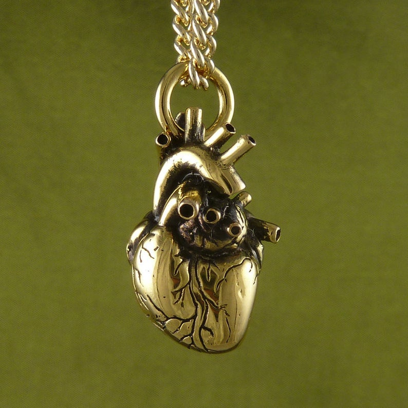 24K Gold Anatomical Heart Necklace