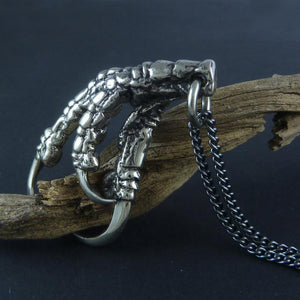 White Bronze Crow Claw Necklace - Goth Mall