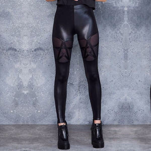 Leather Pentagram Leggings - Goth Mall