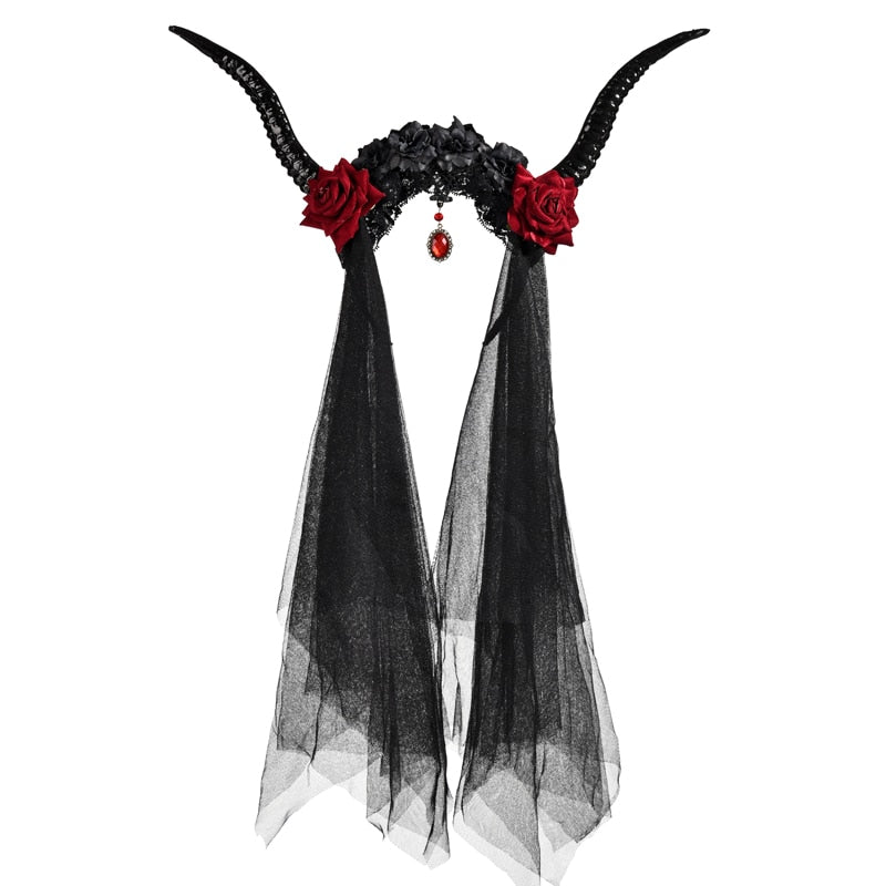 The Misty Rose Antler Veil - Goth Mall