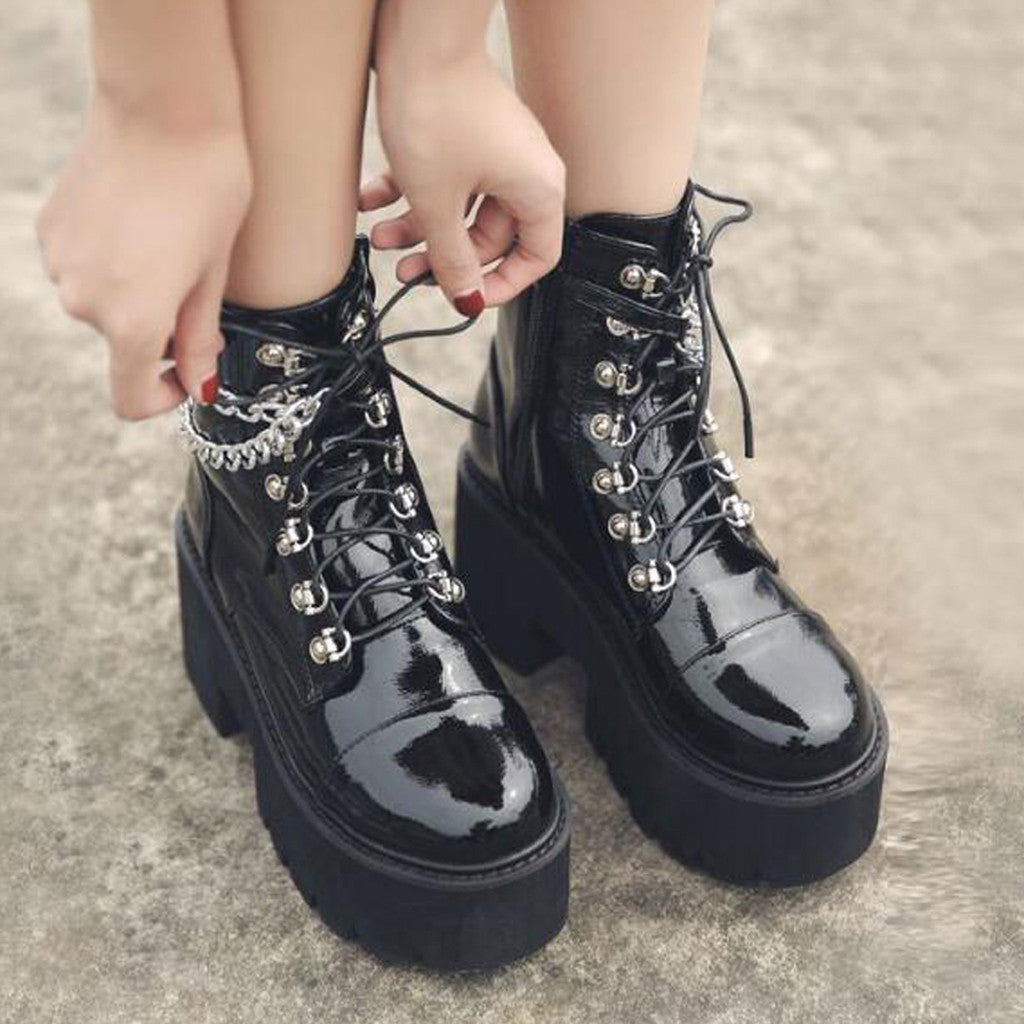 The Ankle Chain Boots - Goth Mall