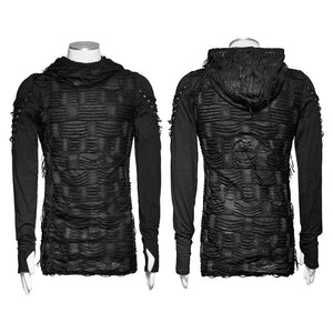 Distressed Hoodie Shirt - Goth Mall