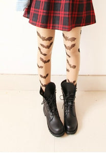 Bat Tattoo Tights - Goth Mall