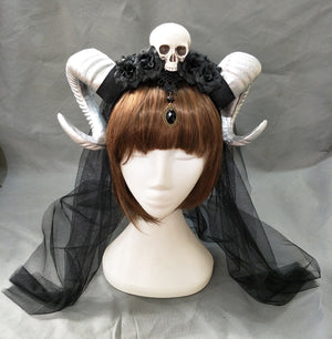 Steampunk Gothic Witch Skull Ram Horned Head-Piece - Goth Mall