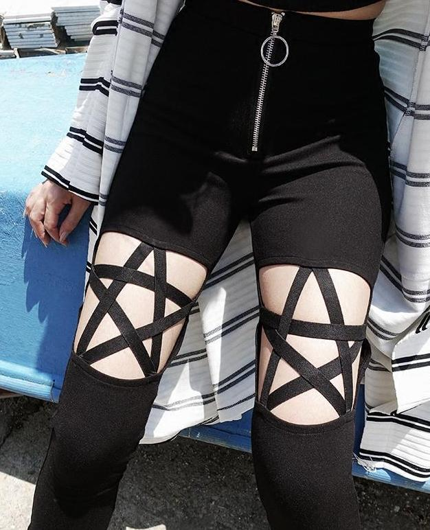The Pentagram Pencil Pants - Goth Mall