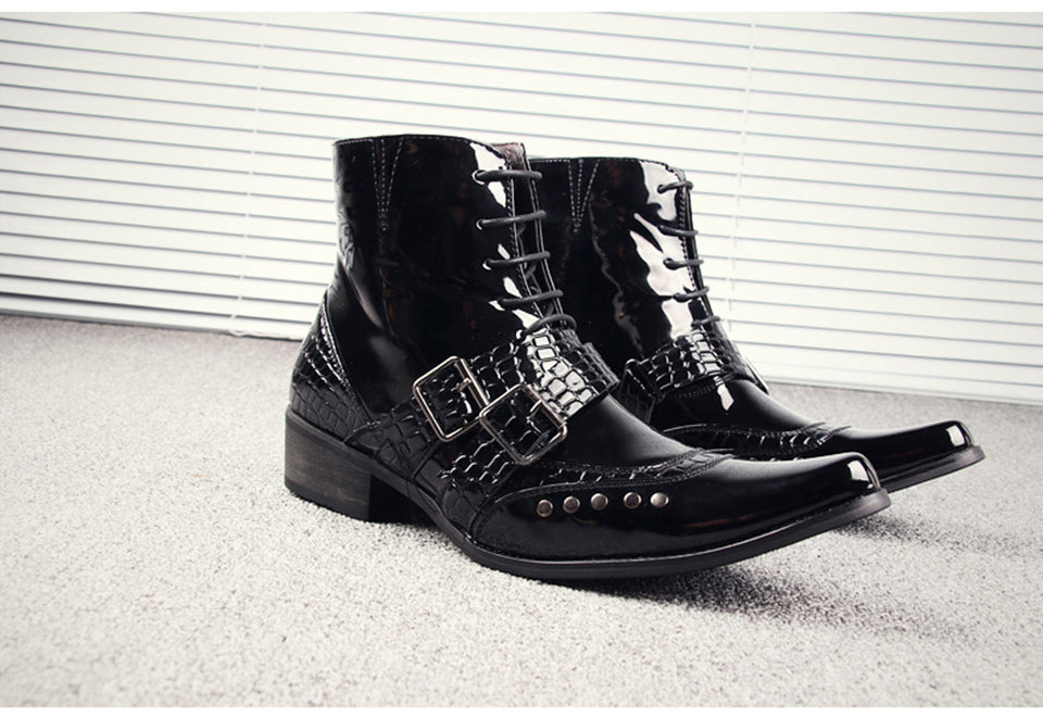 Punk Pike Snakeskin Boots - Goth Mall