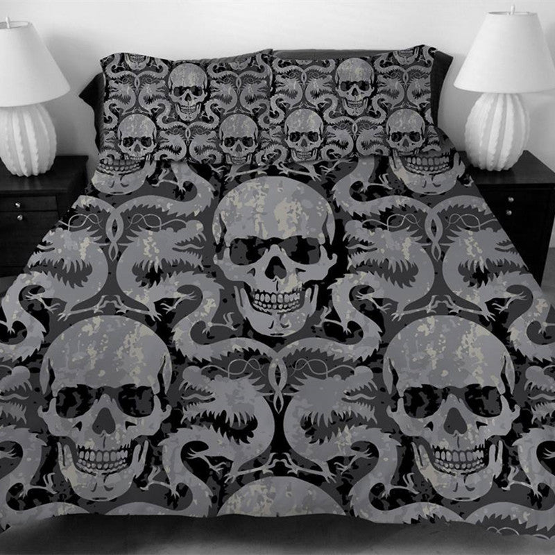 Gothic Metal Skulls & Dragons Bedding Set - Goth Mall