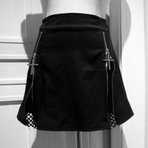 Cross Zipper Mini Skirt - Goth Mall