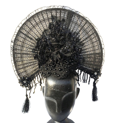 Gothic Flower Fan Headpiece - Goth Mall