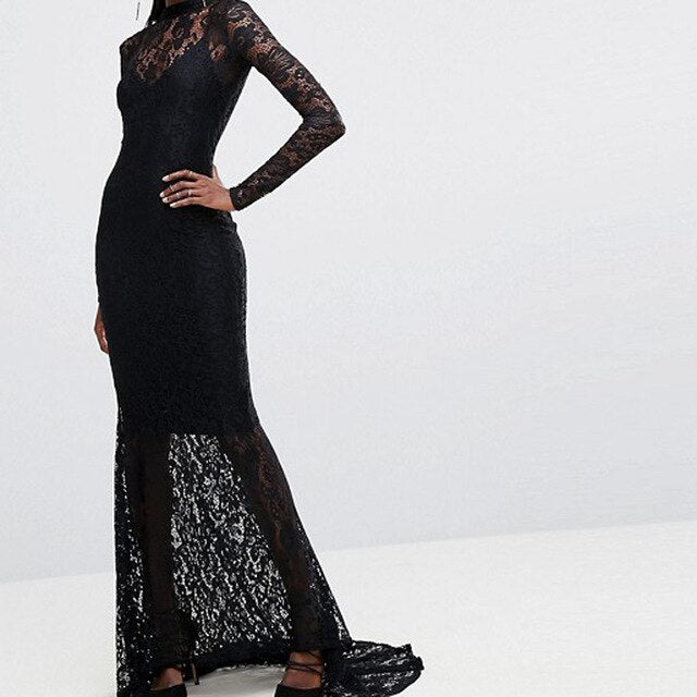 Lace Morticia Dress - Goth Mall