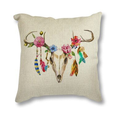 Floral Antler Throw Pillow Case - Goth Mall