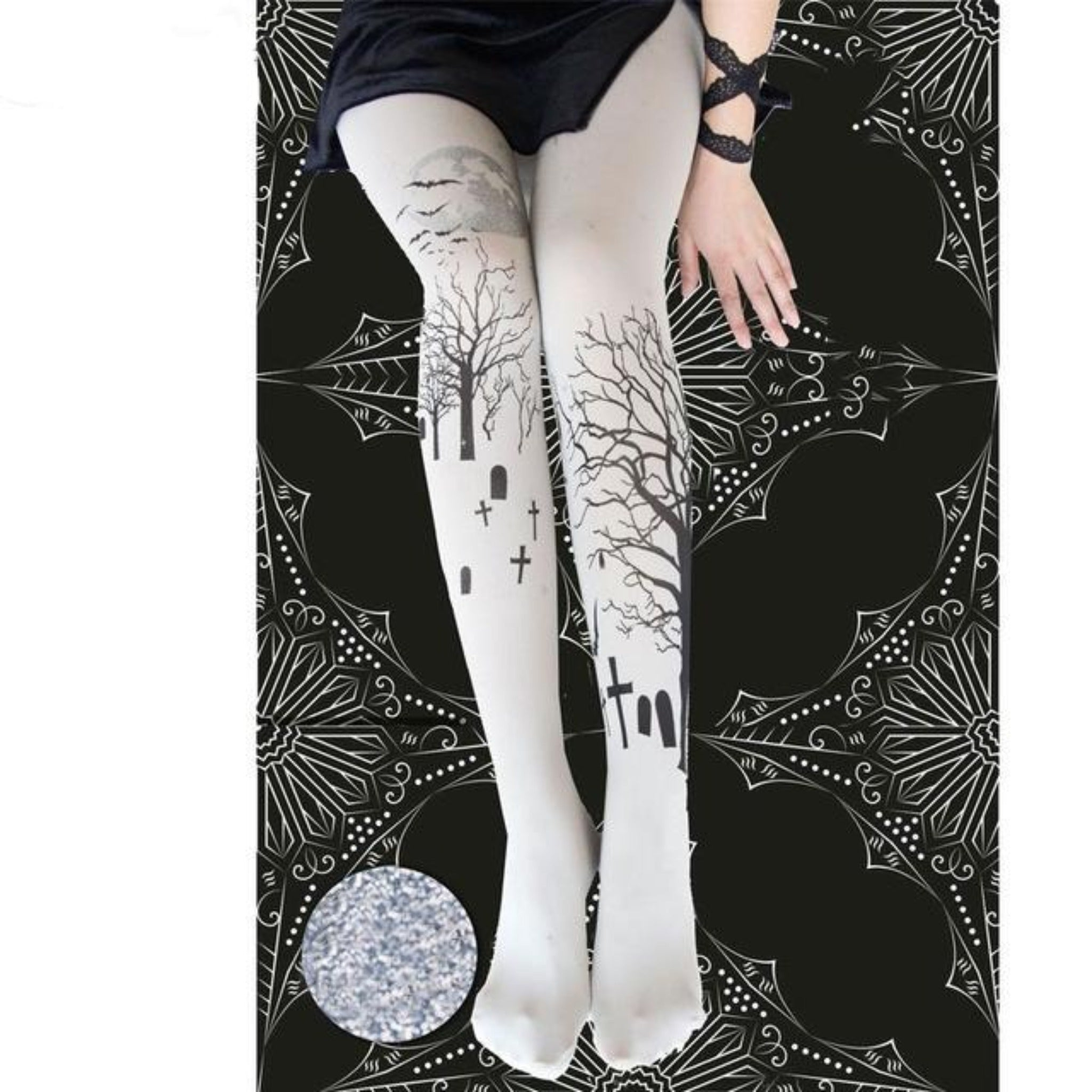 Moonlit Cemetery Tights - Goth Mall