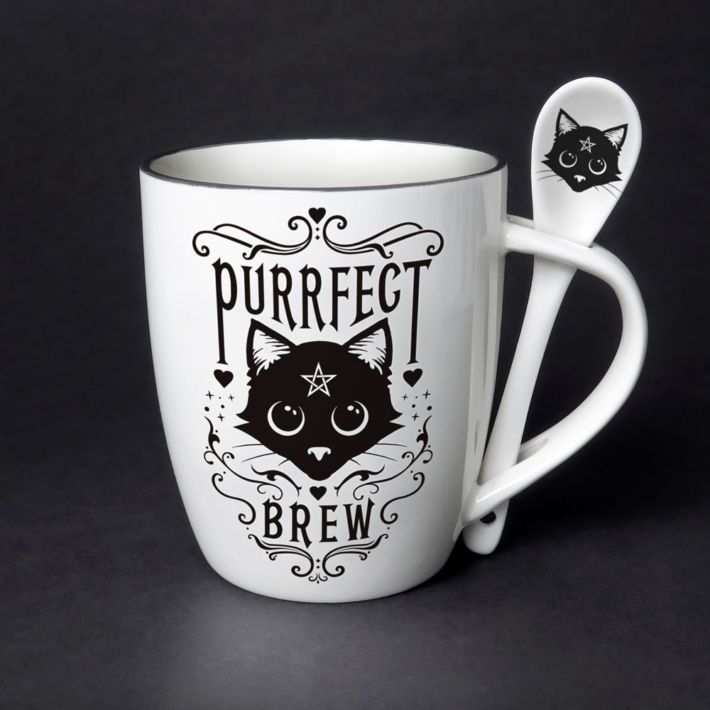 Purrfect Brew Mug & Spoon Set - Goth Mall