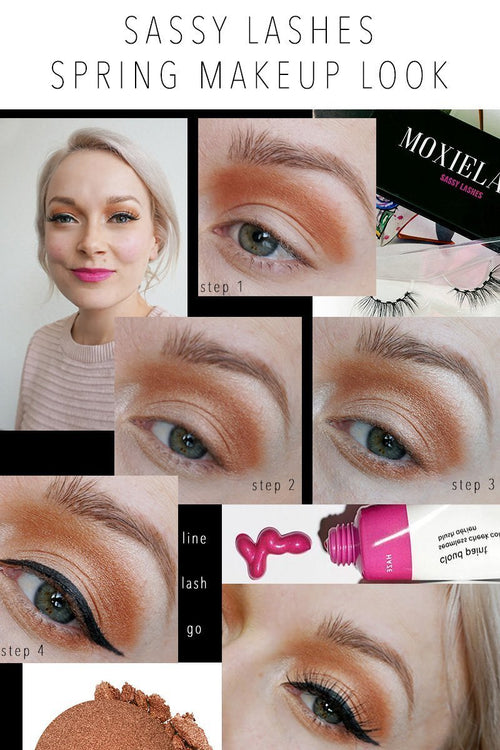 Here is the Sassy Lash Spring Makeup Look for you to recreate with MoxieLash magnetic lashes and liner!