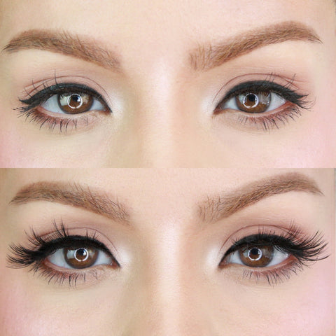 Before and after wearing MoxieLash most natural mid-length lash style