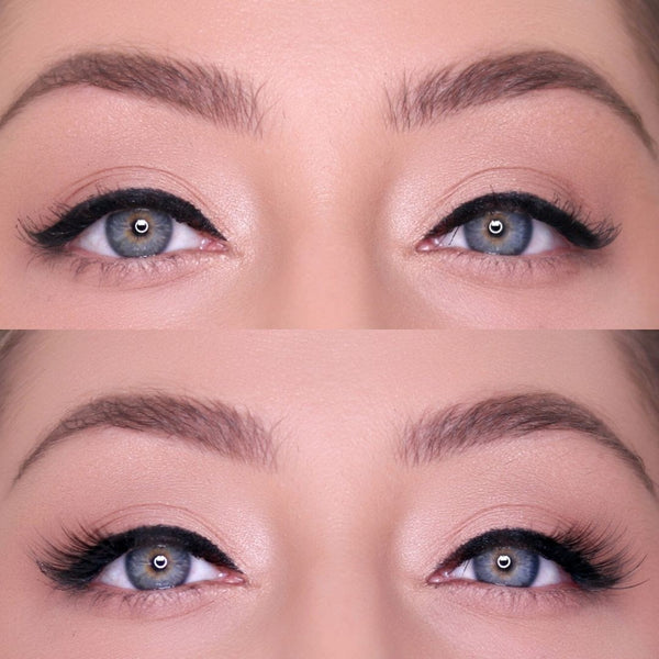 Here is the before and after of wearing the baby lash from the Natural Lash Kit.