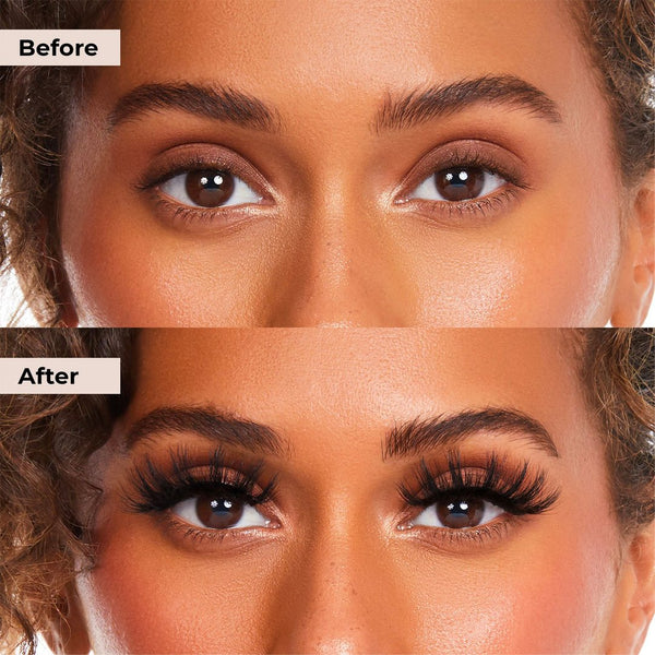 Before and after pictures of Money Lashie that is glue and magnet free lash system with clear liner.