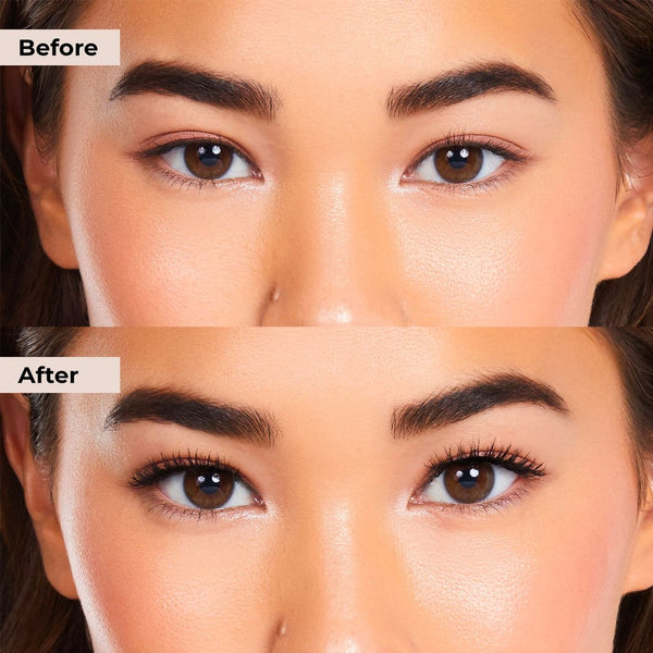 Before and after pictures of Classy Lashie that is glue and magnet free lash system with clear liner.
