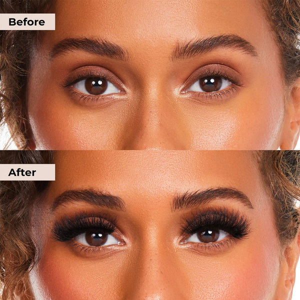 Before and after pictures of Boujie Lashie that is glue and magnet free lash system with clear liner.