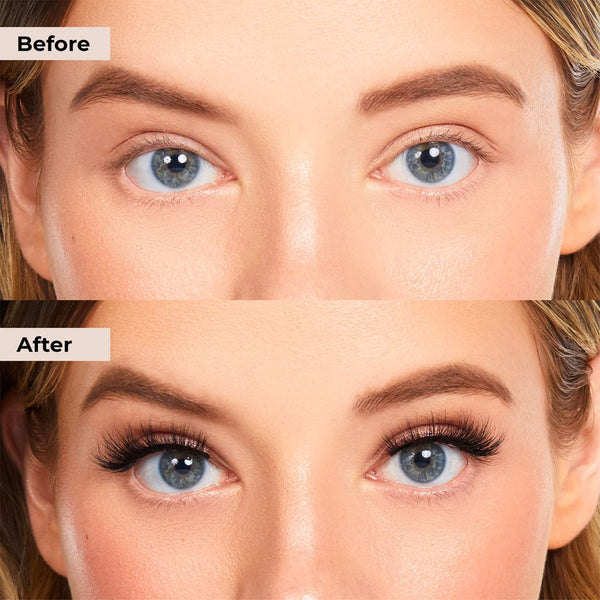 Showing your the before and after of Happy Lash by Lashies using our no glue, no magnet lash band!
