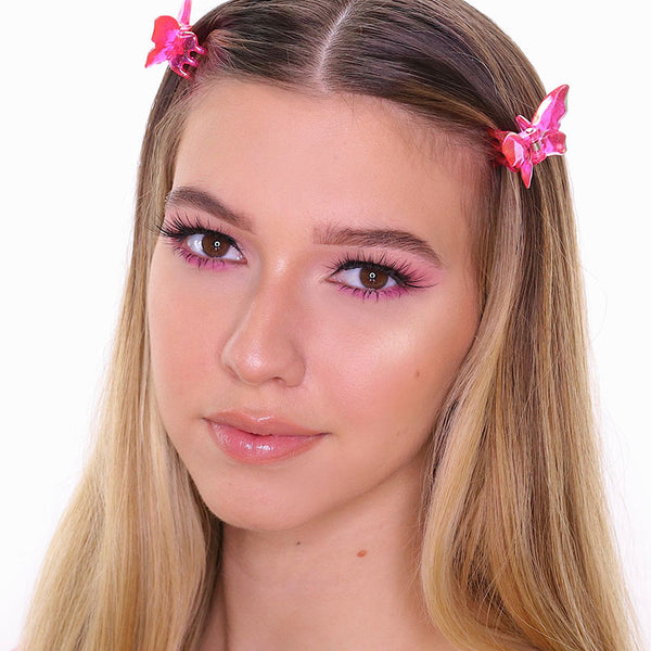 Add a splash of color to your fall makeup palette with this pop of pink look!