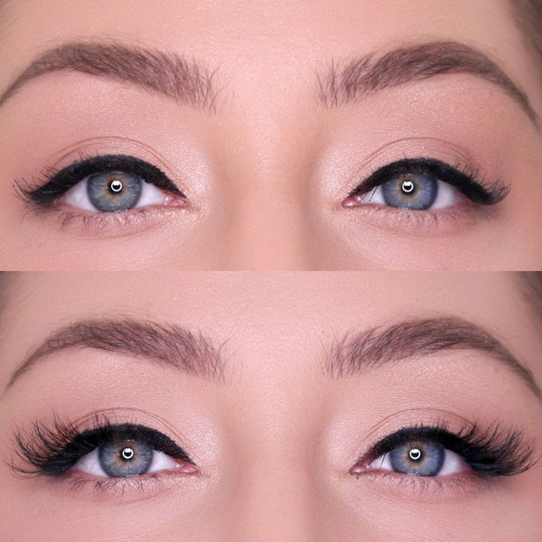 Sassy Magnetic eyelash for a cat eye before and after.