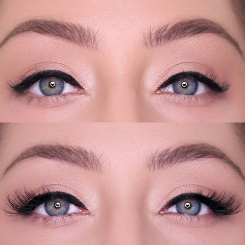 Sassy Lash before and after for creating medium fullness and length!