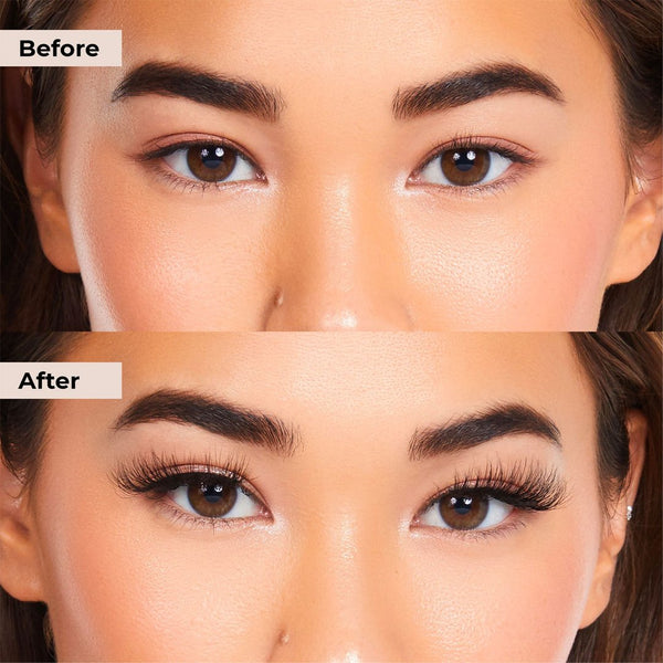 Before and after pictures of Sassy Lashie that is glue and magnet free lash system with clear liner.