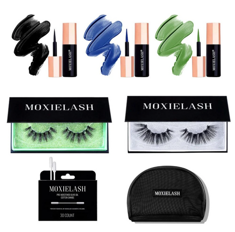 Deep color kit has green and blue magnetic eyeliners from MoxieLash!