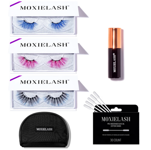 This lash set houses three colorful magnetic lash styles to play with and enhance eye colors!